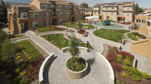 Ford Road property, courtyard, and playground aerial photograph