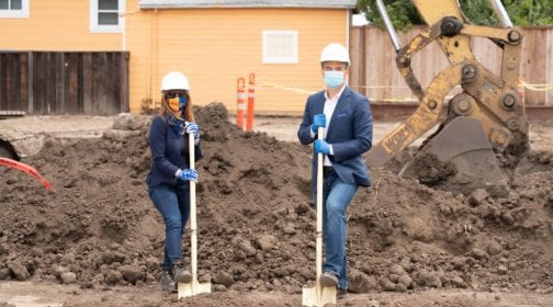 Linda Mandolini and Rob Bonta with shovels